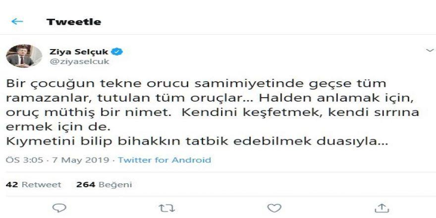 Milli Eğitim Bakanı Ziya Selçuk, Sosyal Medya Hesabından Ramazan Ayını Kutladı