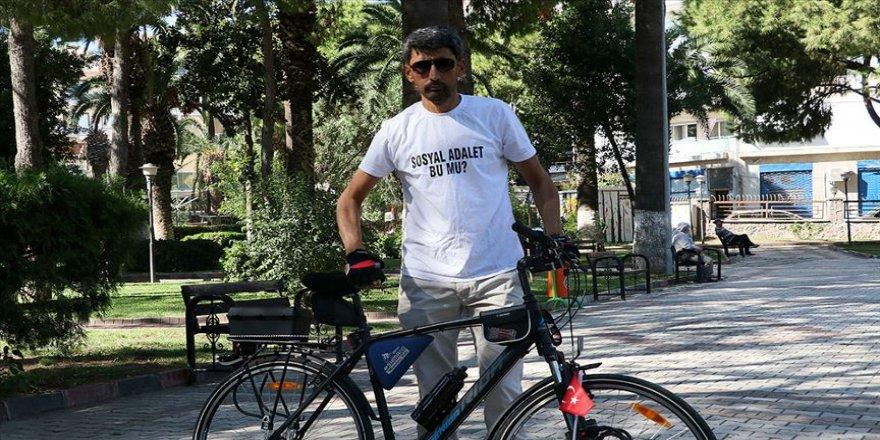 Bisikletiyle 'Adalet ve Demokrasi Yolculuğu'na çıkan işçi mücadelesini sürdürüyor