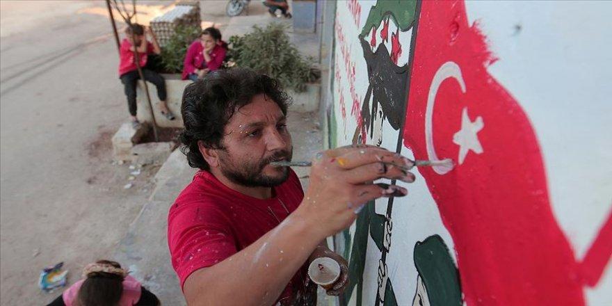 İdlibli grafiti sanatçısından Barış Pınarı Harekatı'na destek