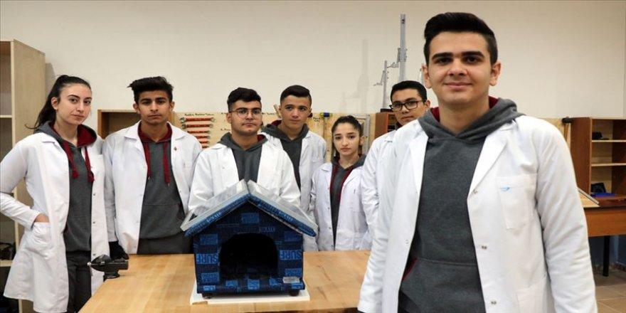 Lise öğrencilerinden sokak hayvanlarını sıcak tutacak özel kulübe