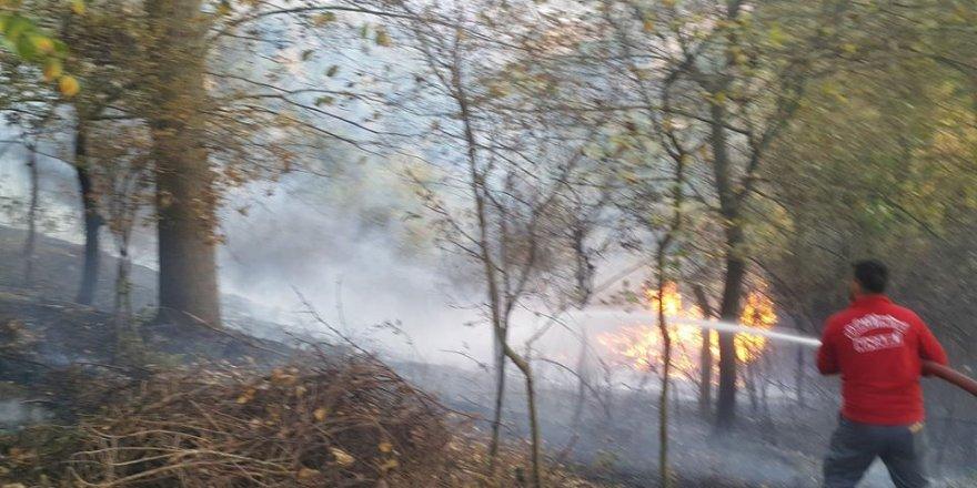Gebze'de çalılık alanda yangın çıktı !