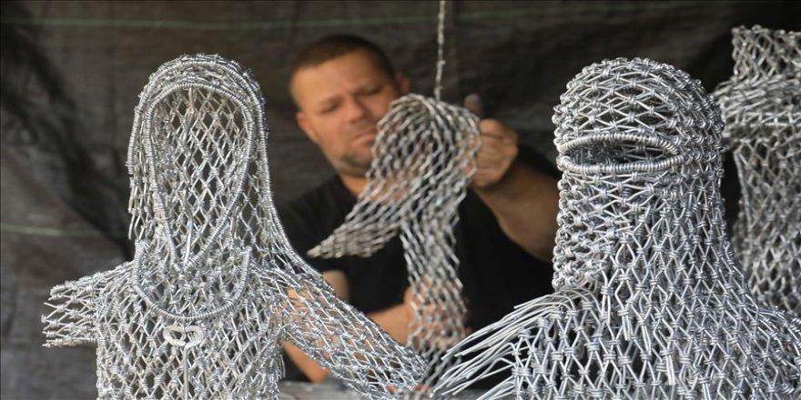 Filistinli sanatçı, ülkesinin hikayesini tellerden yaptığı eserlerle anlatıyor