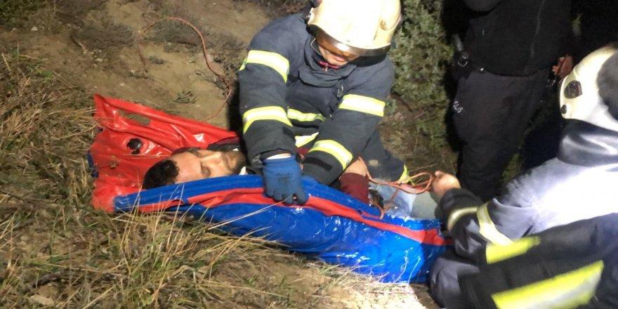 Kontrolden çıkan araç 70 metre aşağı yuvarlandı