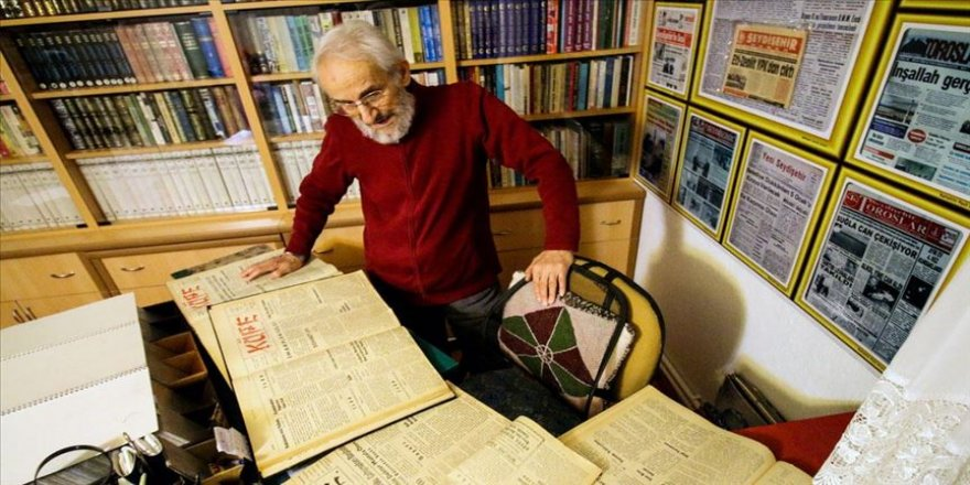 Konyalı gazeteci 52 yıllık gazete arşivine gözü gibi bakıyor