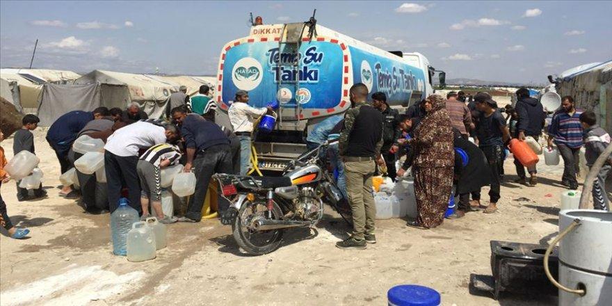 Afrin'deki Suriyelilere haftalık 100 ton su yardımı