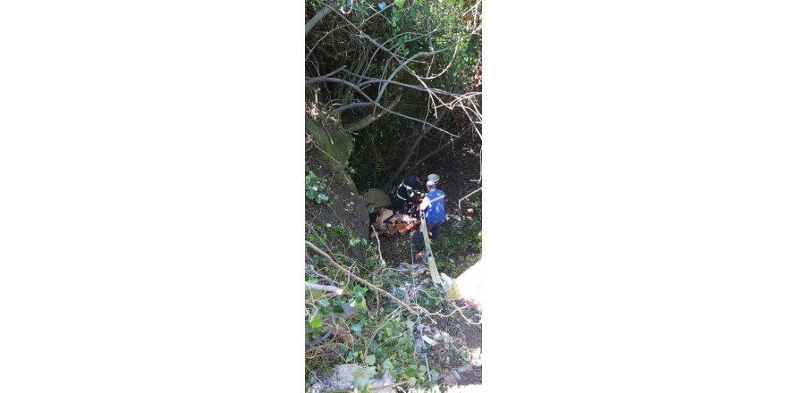 25 metrelik çukura düşen inek kurtarıldı
