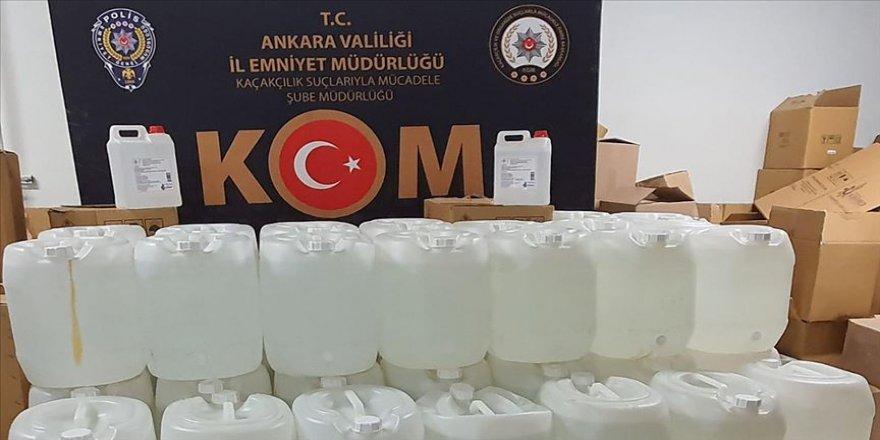 Başkentte sahte içki yapımında kullanılan 2 bin 280 litre etil alkol ele geçirildi