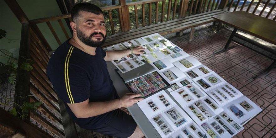 Milli çekiççi Özkan Baltacı'nın hobisi pul koleksiyonu