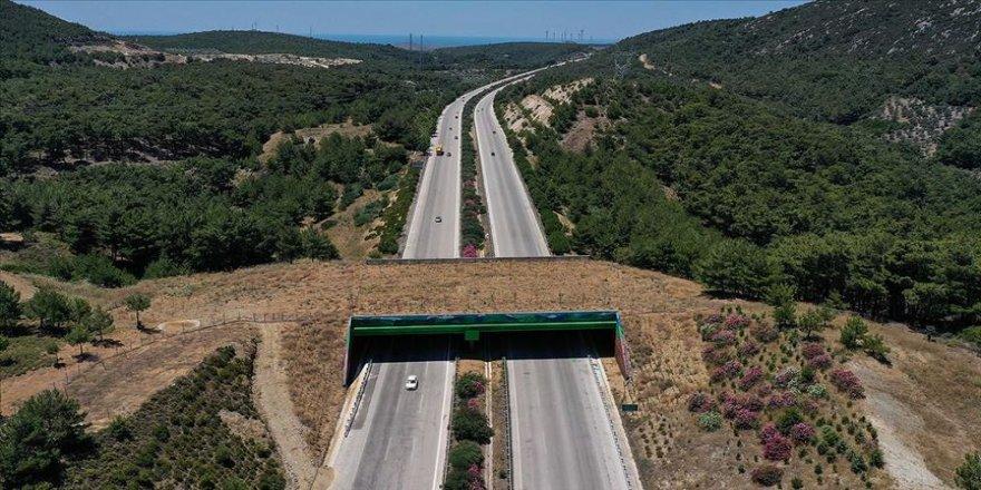 İzmir-Çeşme Otoyolu üzerindeki 'ekolojik köprünün' yapımı tamamlandı