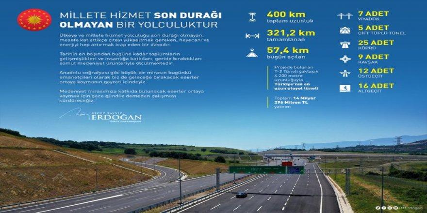 Cumhurbaşkanı Erdoğan'dan Kuzey Marmara Otoyolu paylaşımı