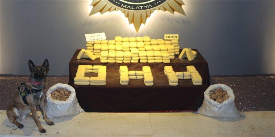 Malatya'da ceviz çuvallarına gizlenmiş 100 kilo 250 gram eroin ele geçirildi