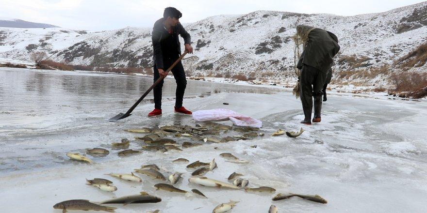'Denizsiz kentin balıkçıları' ekmeklerini buzla kaplı nehirden çıkarıyor