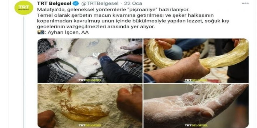 İzmit Belediyesi'nden TRT Belgesel'in Malatya'da pişmaniye yapımı paylaşımına gönderme