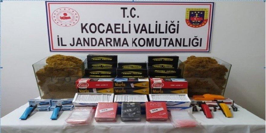 Kocaeli'de jandarma ekipleri  çok sayıda kaçak ürün ele geçirildi.