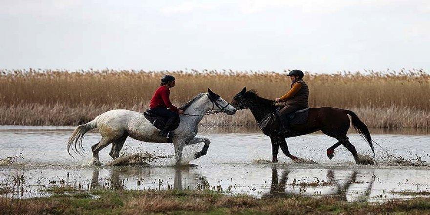 Uluabat Gölü'nde dizlerine kadar suya giren atların sırtında 'safari' keyfi