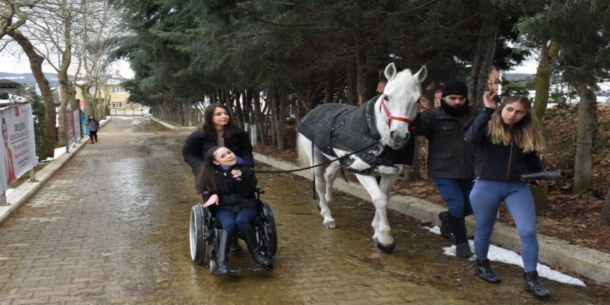 Serebral palsi hastası Canan 'para at terbiyesi' yarışmasında başarı için mücadele verecek