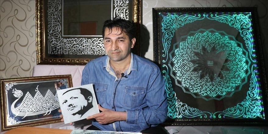 Kütahyalı sanatkar hat, kaligrafi ve kufi işlemeleriyle atık malzemeleri sanat eserine dönüştürüyor