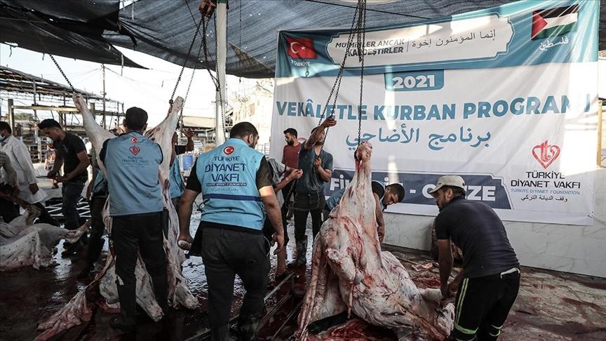 Gazze'de Türkiye Diyanet Vakfının desteğiyle kesilen kurbanların etleri yoksul ailelere dağıtılacak