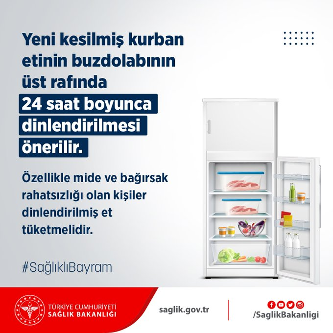 Sağlık Bakanlığından 'kurban etini 24 saat buzdolabında dinlendirin' uyarısı