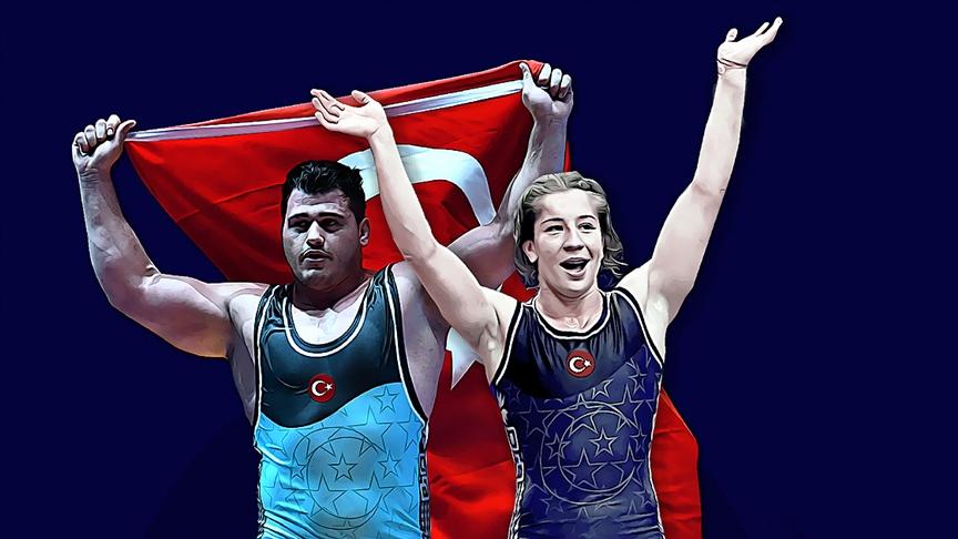 Milli güreşçiler Rıza Kayaalp ile Yasemin Adar tarihe geçti