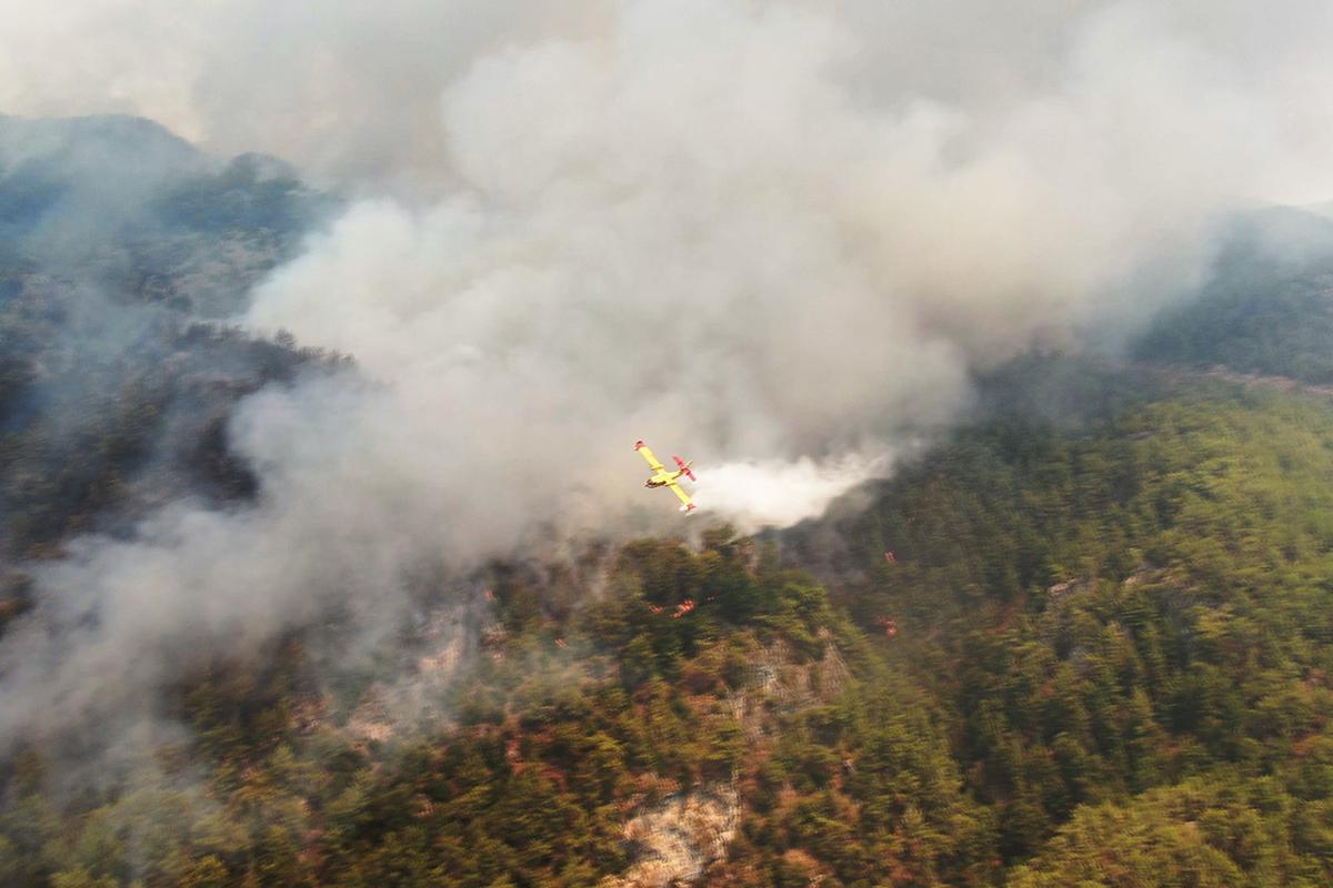 Köyceğiz yangını havadan görüntülendi