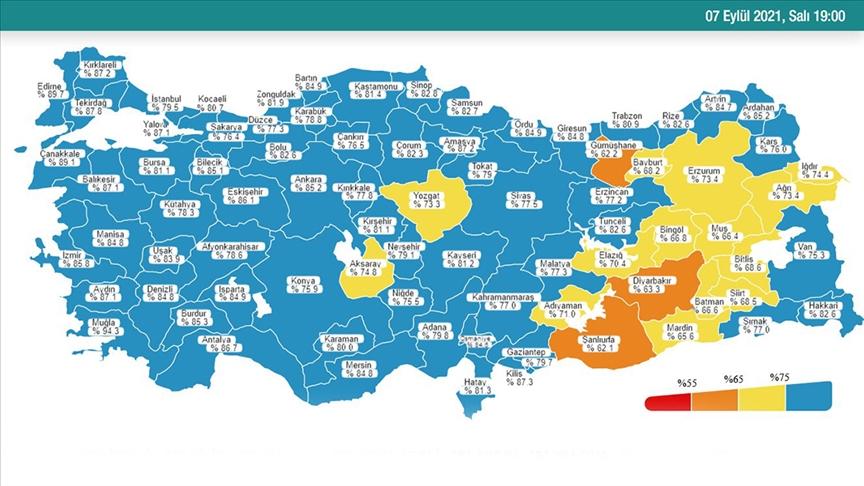 Sağlık Bakanı Koca Kovid-19 risk haritasında rengi değişen illeri paylaştı