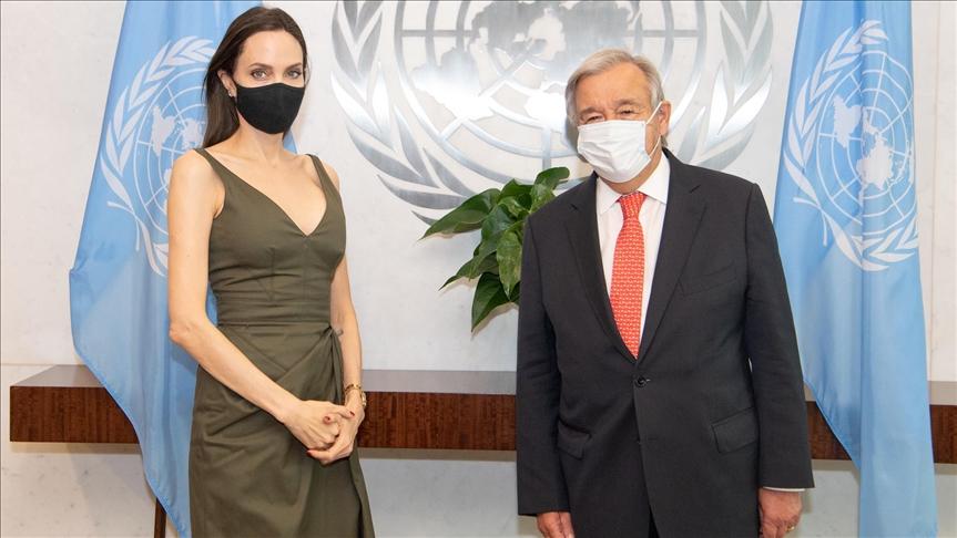 BM Genel Sekreteri Guterres, iyi niyet elçisi ünlü oyucu Angelina Jolie ile görüştü