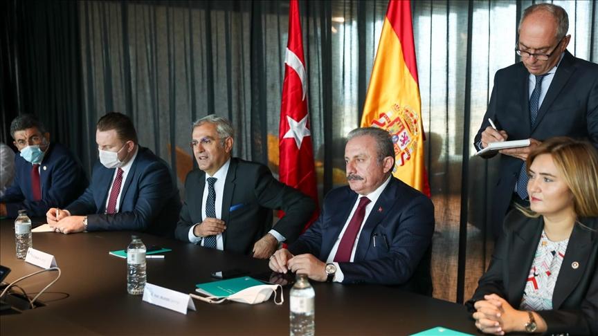 TBMM Başkanı Şentop, İspanyol akademisyenler ve düşünce kuruluşları temsilcileriyle görüştü