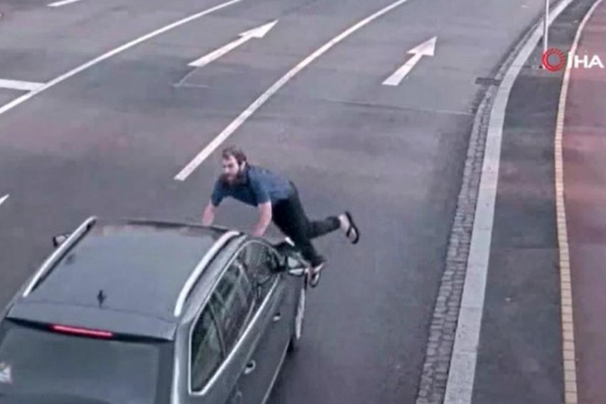 Aniden aracın önüne atladı, kalkıp yoluna devam etti