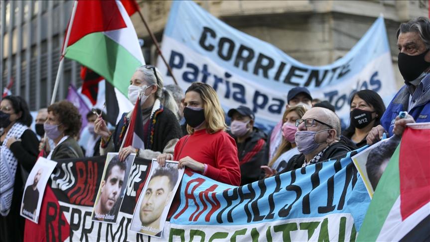Arjantin'de Filistinli tutuklularla dayanışma, İsrail'i protesto gösterisi düzenlendi