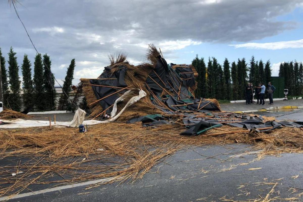 Edremit'te fırtına dalları kırdı, çatıları uçurdu