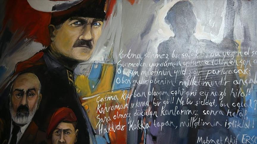 Cumhuriyet'in 98. yılında ressamlar İstiklal Marşı'nı tuvalde anlattı