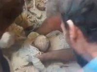 Halep'te Bir Bebek ve Bir Çocuk Muzicevi Şekilde Kurtarıldı