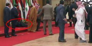 85 yaşındaki Cumhurbaşkanı yere fena kapaklandı