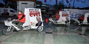 'Evet' bisikletleri Nazilli sokaklarında