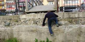 Rize'de şaşkınlık yaratan görüntü! Köprüdeki detaya dikkat
