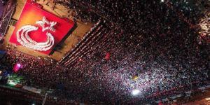 249 hafızın oluşturduğu Türk bayrağı ayakta alkışlandı