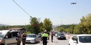 Jandarma ve polisten droneli trafik denetimi