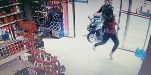 Trabzon'da Motosiklet Markete Böyle Girdi