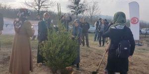 KYK'da kalan öğrenciler fidanları toprakla buluşturdu