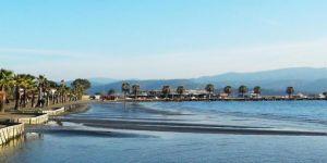 Akyaka'da deniz çekilmesi