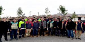 Başkan Çakır, işçilerle birlikte ağaç dikti