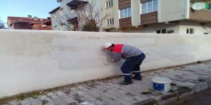 Duvar yazıları temizlendi
