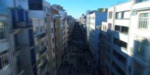 Yeni yüzüne kavuşan İstiklal Caddesi havadan görüntülendi
