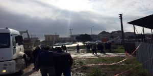 Sanayi bölgesinde istinat duvarı çöktü