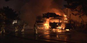 4 iş makinesi alev alev yandı