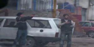 Teröristler sokak ortasında atış talimi yaptı!
