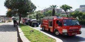 Seyir halindeki minibüste yangın paniği