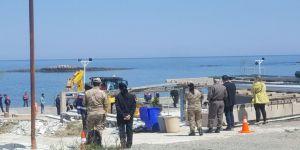 Plajda yoğun güvenlikli yıkım