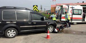 Elektrikli bisikletle kamyonet çarpıştı: 1 yaralı